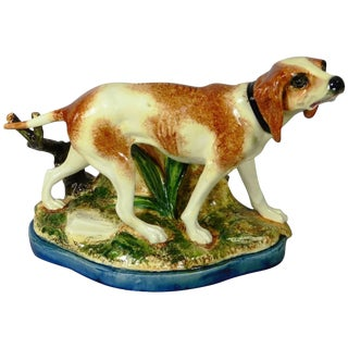 Majolica Hunting Dog Jardinière Jerome Massier Fils For Sale