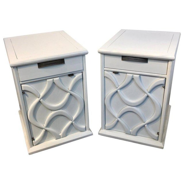 Pair of Moderage Sculptural Parzinger White Lacquered King Size Nightstands For Sale - Image 13 of 13