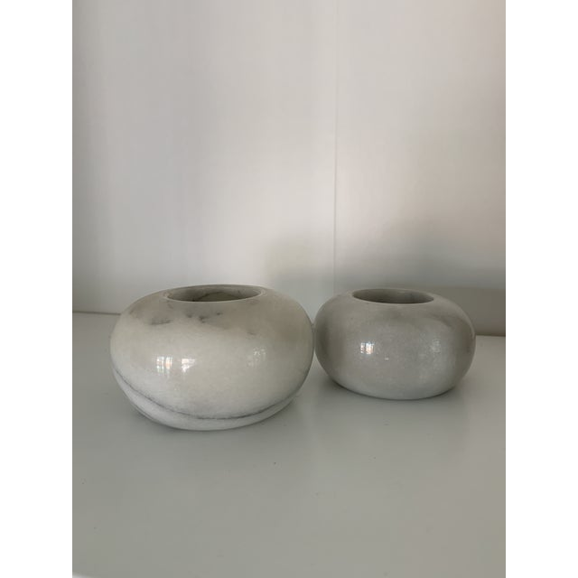 Vintage Modernist Marble Sphere Candle Holders- a Pair For Sale - Image 4 of 5