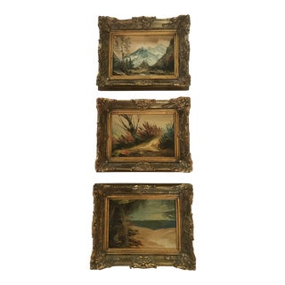 Small Oil Paintings in Gilt Frames - Set of 3 For Sale