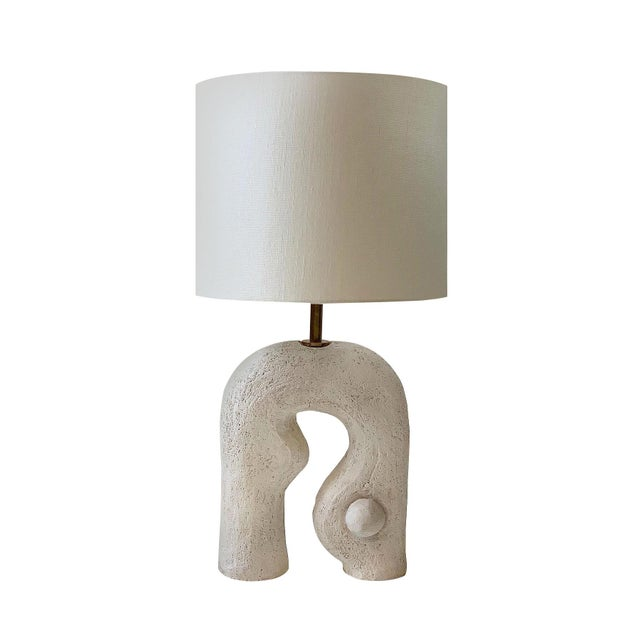 """Handmade """"It's My Show Here"""" Matte White Lamp With Oyster Shade by Analuisa Corrigan For Sale - Image 4 of 5"""