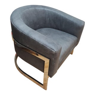 Bernhardt Leather Madison Chair Round Back For Sale