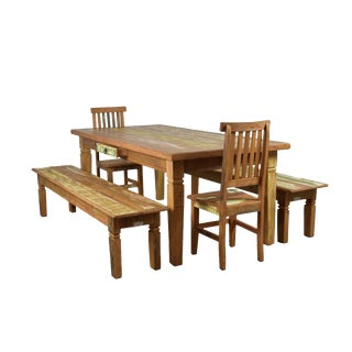 "Reclaimed Wood 5 Piece Dining Set ""Chinese Feet"" 94"" Long"