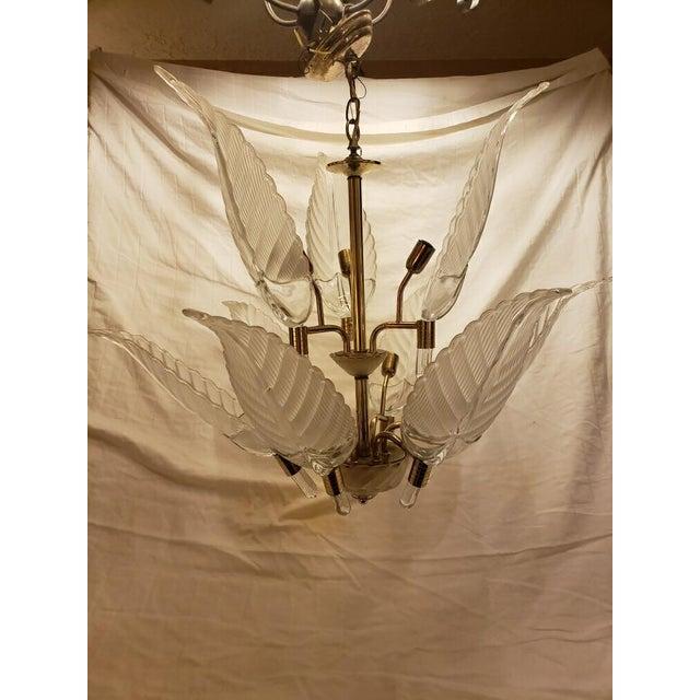 1980s Murano Glass & Brass Italian Leaf Chandelier For Sale - Image 5 of 8