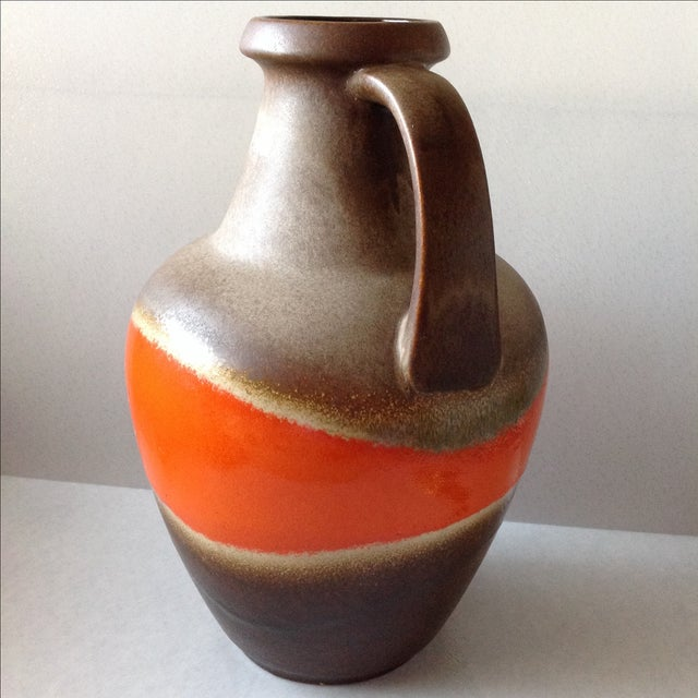 Orange and Brown Fat Lava Floor Vase For Sale - Image 4 of 11
