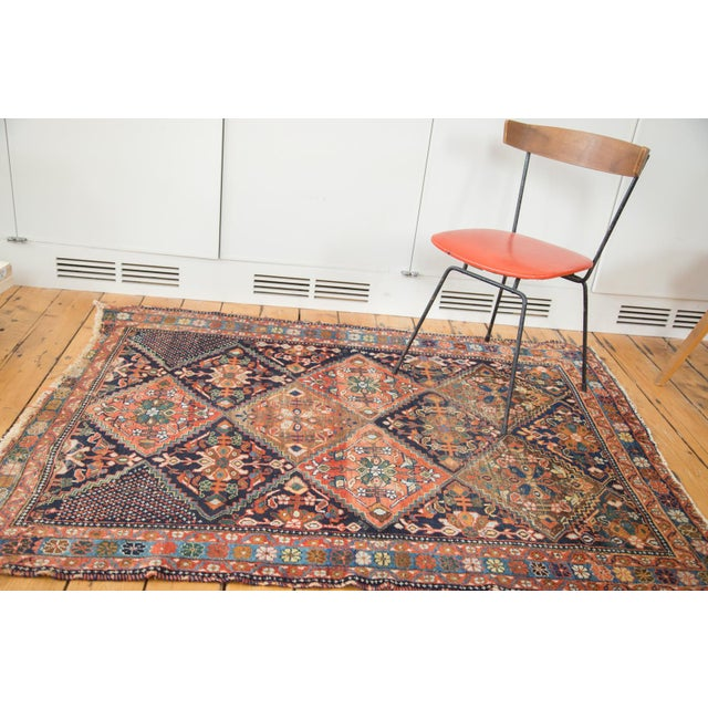"Antique Distressed Afshar Square Rug - 4'4"" X 5'7"" - Image 3 of 9"