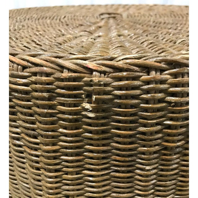 """Boho Chic Vintage Wicker Trompe l'Oeil """"Draped"""" Table For Sale - Image 3 of 12"""