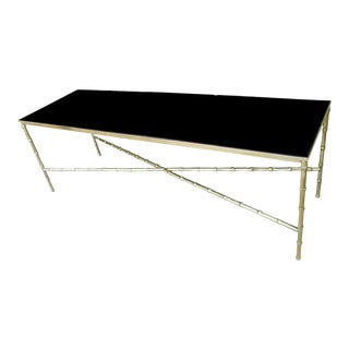 Mid 20th Century Hollywood Regency Style Brass Bamboo Coffee Table With Vitrolite Black Glass For Sale