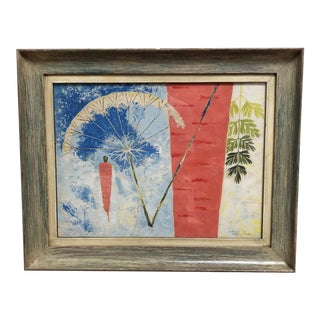 """Mid-Century Modern """"VitaminA """" Painting Casein on Paper by Taylor Poore For Sale"""