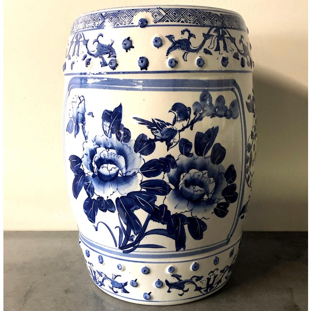 Chinese Blue/White Porcelain Garden Stool For Sale - Image 6 of 10
