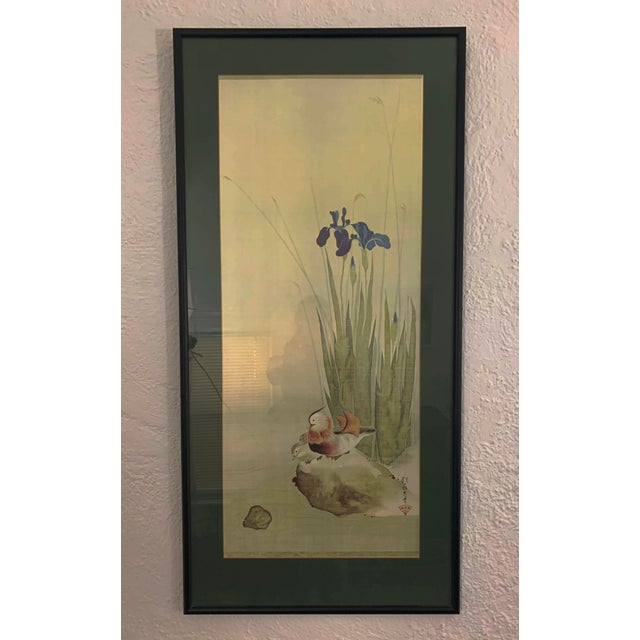 Asian Vintage Mid-Century Irises and Water Fowl Framed Japanese Print For Sale - Image 3 of 13