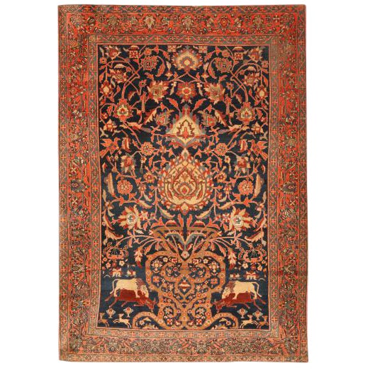 Antique 19th Century Persian Sarouk Rug For Sale
