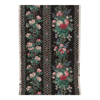 "Black Floral Chinoiserie Trellis ""Noailles"" Clarence House Wallpaper For Sale"
