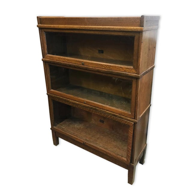Brass Antique Hale 3 Stack Mission Oak Arts and Crafts Barrister Lawyers  Bookcase For Sale - - Antique Hale 3 Stack Mission Oak Arts And Crafts Barrister Lawyers