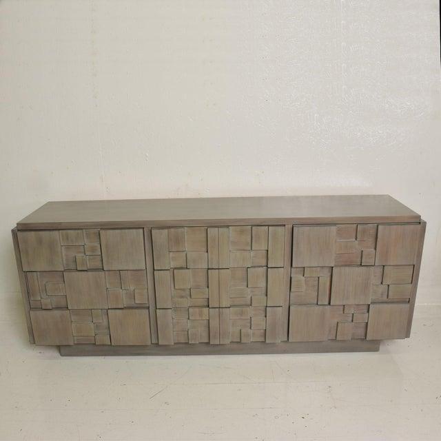 Brutalist Lane Mid-Century Modern Brutalist Credenza Dresser in Custom Grey Finish For Sale - Image 3 of 8
