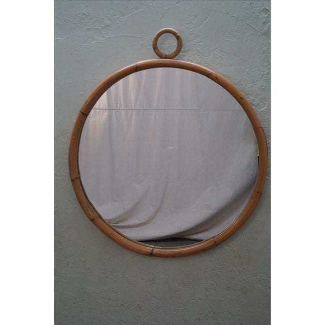 Mid-Century Round Bamboo Wall Mirror - Image 2 of 10