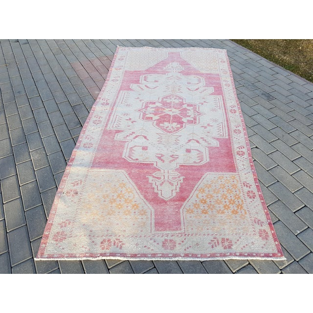 """Distressed Red and Yellow Turkish Rug 4'1"""" X 8'6"""" For Sale - Image 12 of 12"""