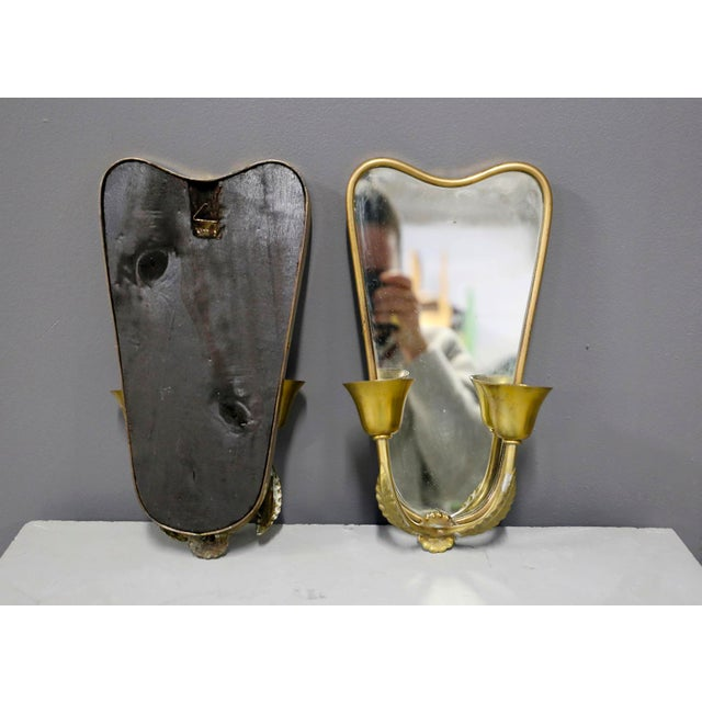 1950s Pair of Italian MidCentury Applique With Mirror in Brass 1950s For Sale - Image 5 of 7
