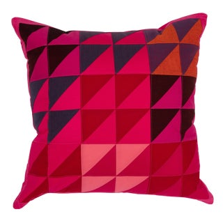 Modern Square Colorful Quilted Pillow For Sale
