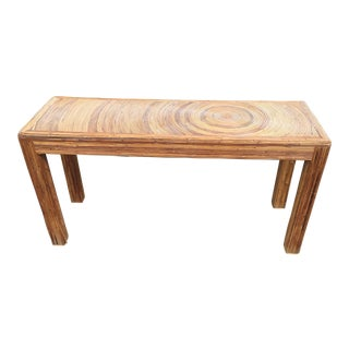 20th Century Boho Chic Pencil Reed Console Table