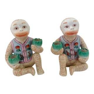 Vintage Chinese Ceramic Candle Holder Monkey Gardener Seated - a Pair For Sale