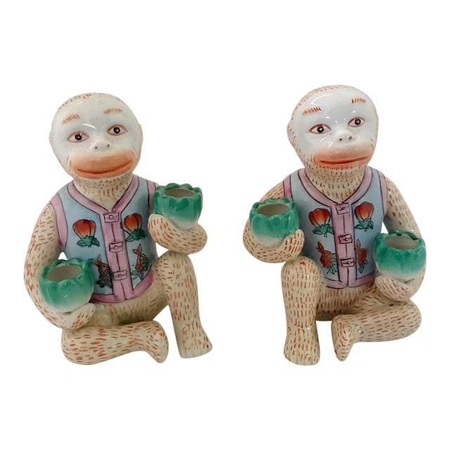 Vintage Chinese Ceramic Monkey Gardener Seated - a Pair For Sale