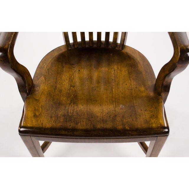 Vintage Mid-Century B. L. Marble Chair Company Walnut Bank of England Style Chair For Sale In Atlanta - Image 6 of 13
