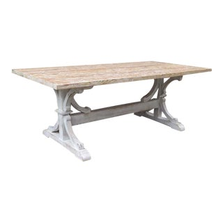 Reclaimed Pine Table With Hand Scraped Painted and Lime Waxed Finish For Sale