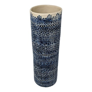 Boho, Coastal, and Chinoiserie Style Blue and White Embossed Lace Pattern Ceramic Vase For Sale