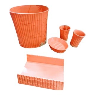 5 Piece Vintage Coral Faux Bamboo Bathroom Accessories Set, Waste Basket, Soap Dish, Cup For Sale