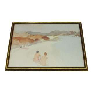 "Early 20th Century Vintage ""Nude Beach Bathers"" Print by W. Russell Flint For Sale"