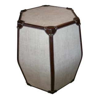 Hexagonal Leather Stool For Sale