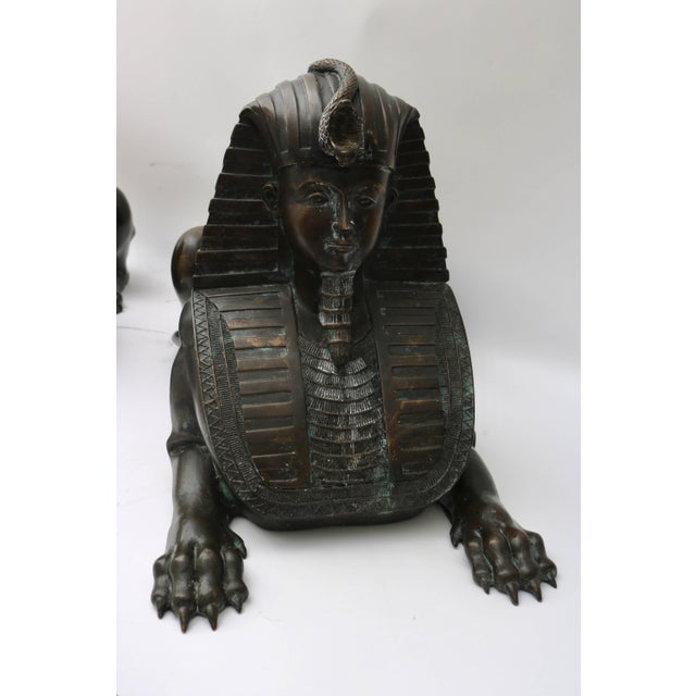 Empire Circa 1850 French Empire Bronze Sphinx Sculptures - a Pair For Sale - Image 3 of 11