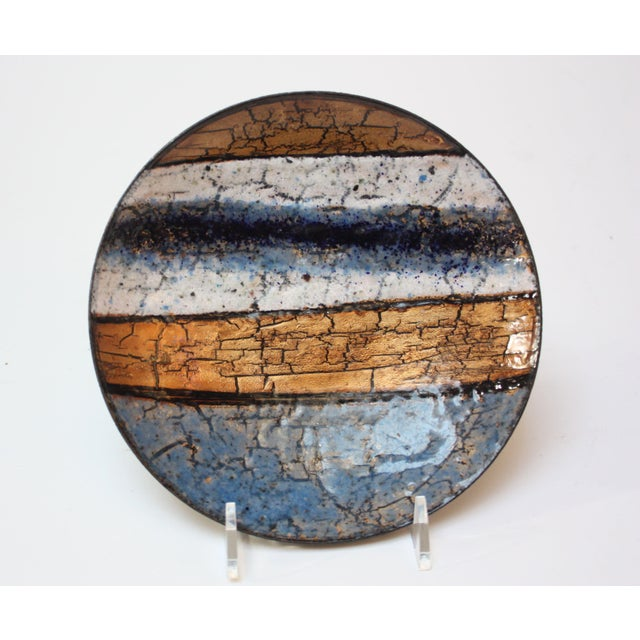 Modernist Blue, White and Gold Enamel on Copper Dish For Sale - Image 10 of 10