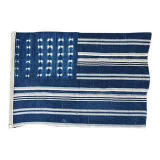 "27"" X 18"" Custom Tailored Blue & White Flag From African Textiles"