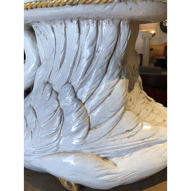 Italian Glazed Terracotta Swan Garden Seat For Sale - Image 10 of 13