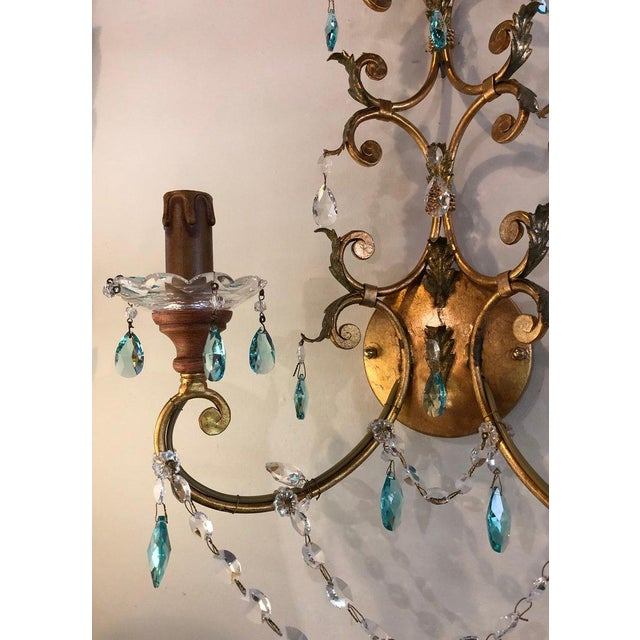 1970s Neoclassical Handcrafted Italian Gilt Metal and Crystal Sconces - a Pair For Sale - Image 5 of 10