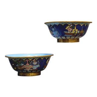 19th Century Chinese Bronze Cloisonne Enamel Bowls- a Pair