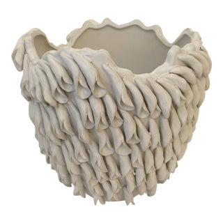 Contemporary Boho Chic Ribbon Textured Ceramic Bowl For Sale