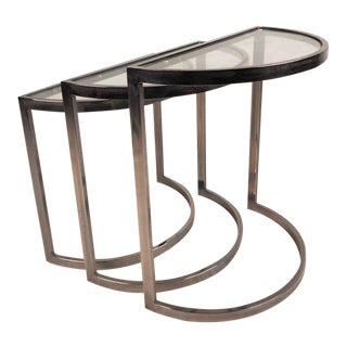 Mid-Century Modern Chrome Nesting Tables in the Style of Metropolitan Furniture For Sale