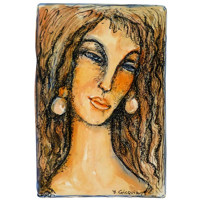 Vintage Female Portrait Watercolor Painting - Image 1 of 5