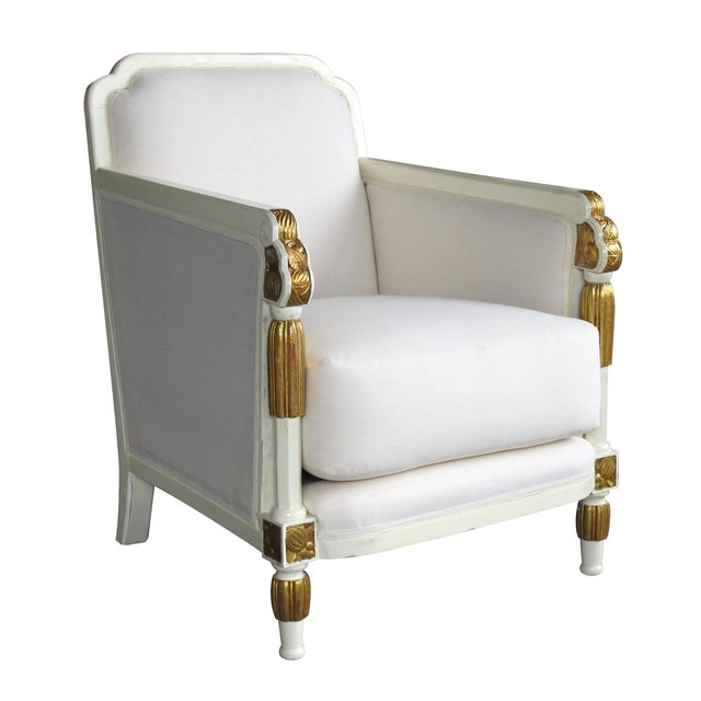 White French Art Deco Ivory Lacquered & Parcel-Gilt Club Chairs For Sale - Image 8 of 8