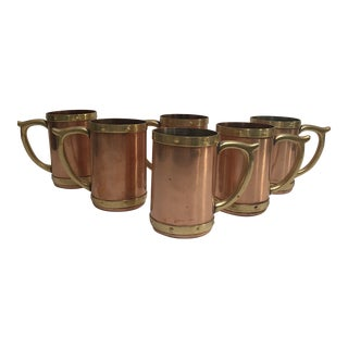 Set of 6 Antique Copper and Brass Beer Stein Tankard Moscow Mule Mugs