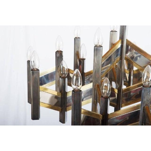 Italian Italian Chrome and Brass Chevron Chandelier with 21 Lights by Gaetano Sciolari, 1966 For Sale - Image 3 of 11