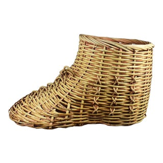 Whimsical Oversize Large Woven Rattan Wicker Shoe Themed Toy Basket For Sale