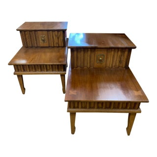 1960s Stanley Walnut Nightstand - Set of Side Table - Set of 2 For Sale