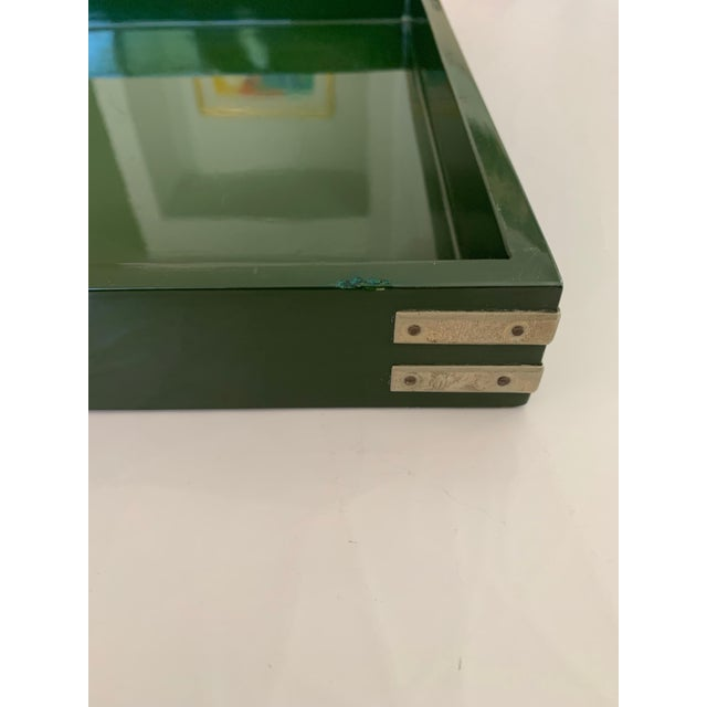 """Roe Kasian, """"British Racing Car Green"""" Lacquer Tray - 1970's For Sale - Image 10 of 11"""