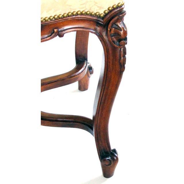 French An Elegant French Regence Style Carved Walnut Serpentine-Shaped Stool With Cut-Suede Upholstery For Sale - Image 3 of 7