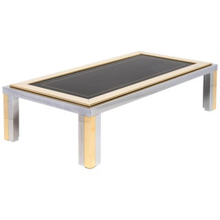 Vintage Romeo Rega Chrome and Brass Coffee Table For Sale