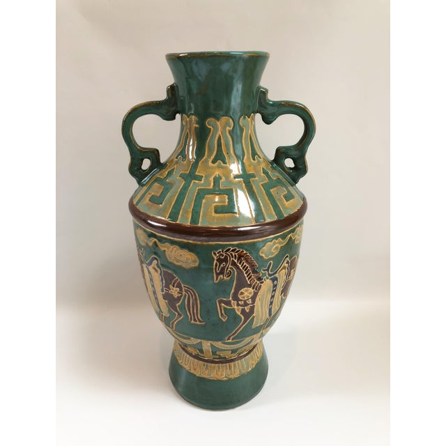 Ceramic Tall Green Vintage Ming Horses Decorative Vase For Sale - Image 7 of 8
